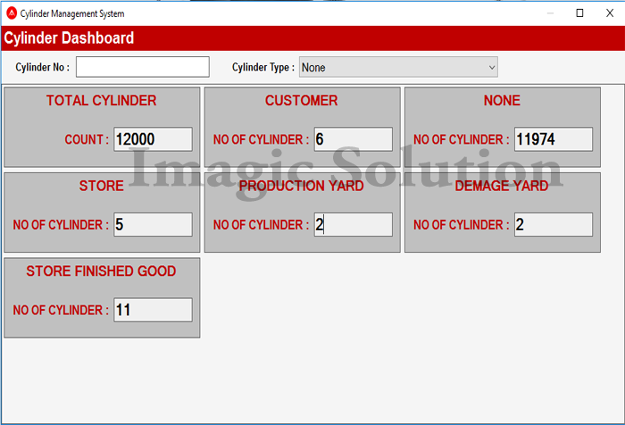 cylinder management : dashboard Screen