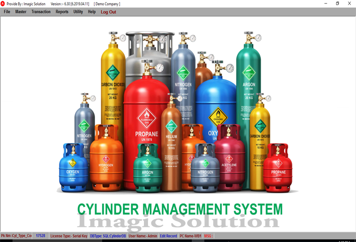 cylinder management : main screen
