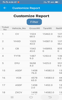 Weighbridge Reporting APP : Custom Report View