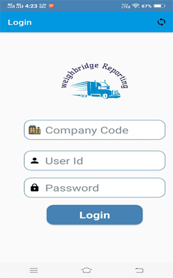 Weighbridge Reporting APP : user login screen on APP